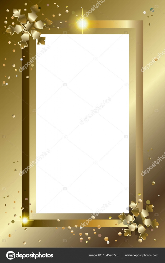 greeting card border with gold snowflakes glitter fall snow confetti and decorative elements christmas frame winter holiday border
