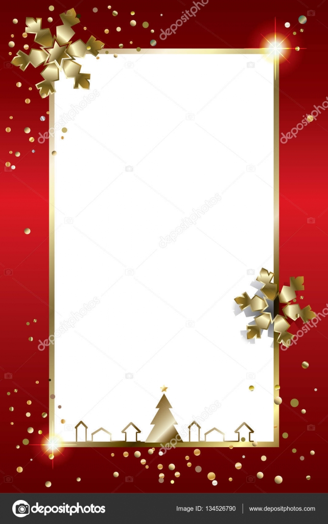 Merry Christmas and Happy New Year greeting card with glitter gold ...
