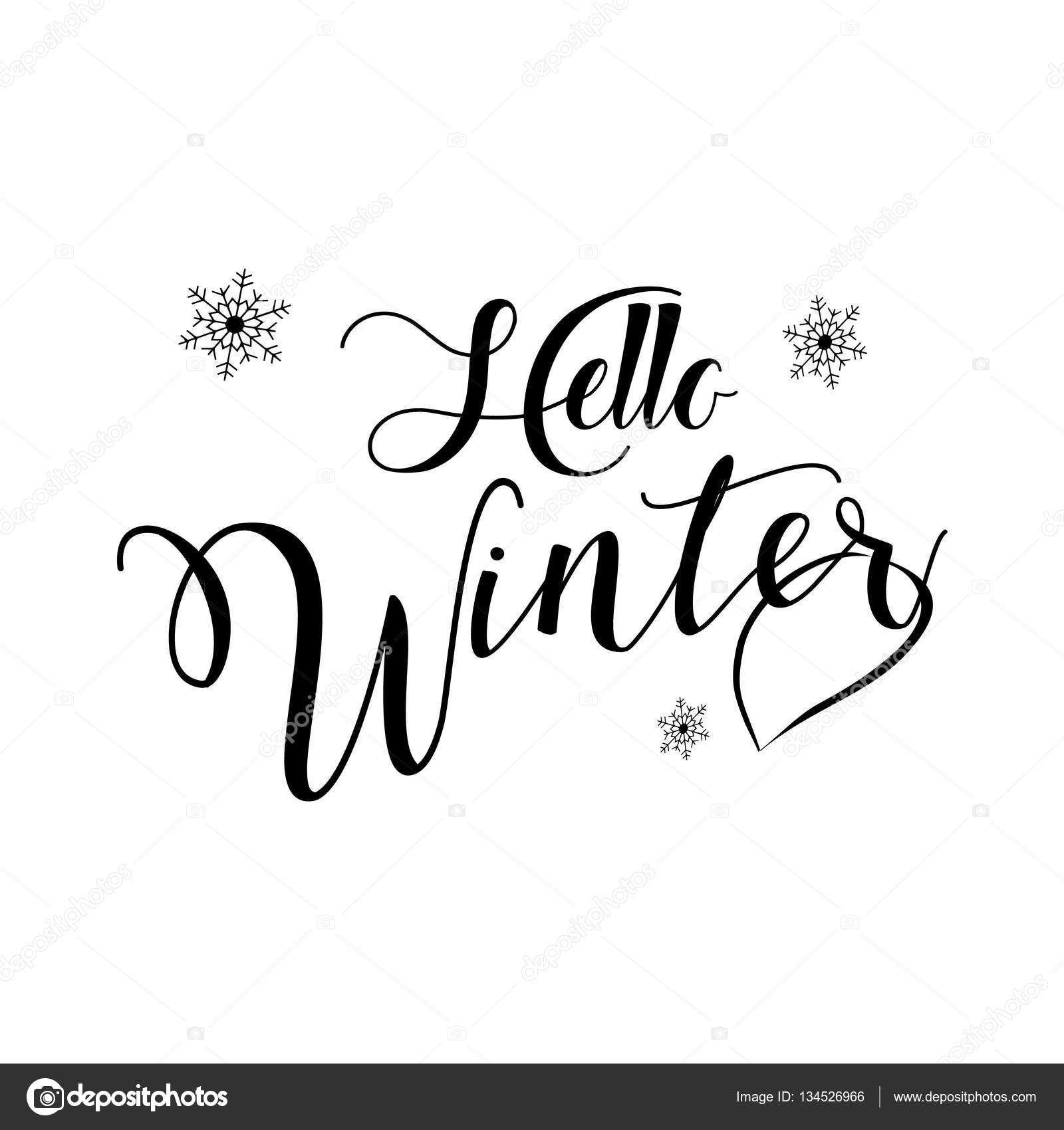 Hello Winter Lettering Text For Merry Christmas And Happy New Year Greeting  Card. Winter Holiday