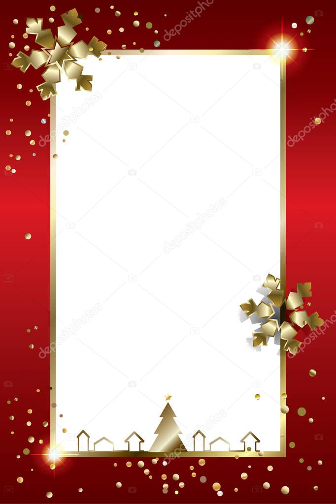 Merry Christmas and Happy New Year greeting card with glitter gold snowflakes, sparkles, falling snow and confetti. 2017. Luxury Christmas decoration. 3D light effect. Winter Holiday card. Vector xmas frame