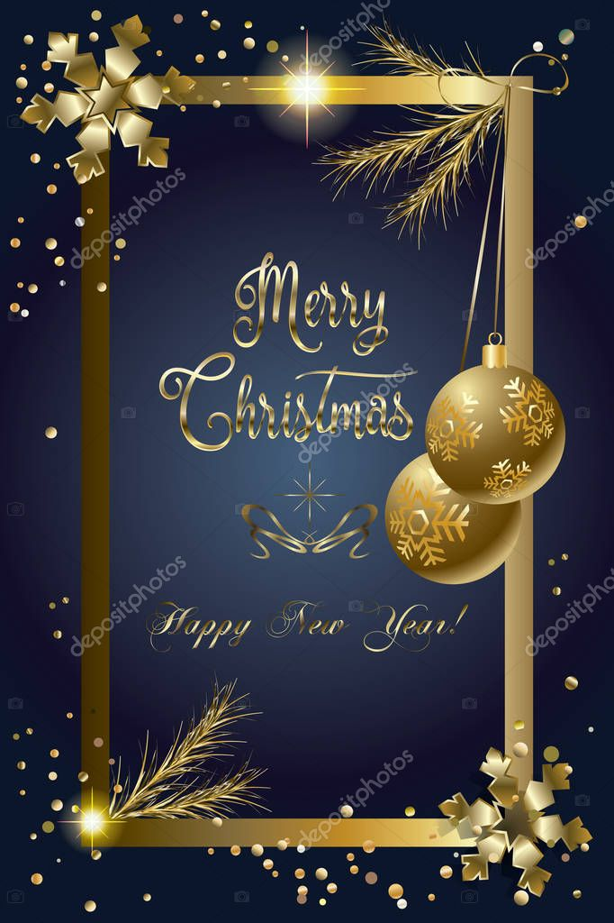 2017 Merry Christmas and Happy New Year greeting card with glitter, fall snow, glass, gold snowflakes and confetti. For Winter Holiday. Christmas decoration. Light Glow effect. Luxury card. Vector illustration.
