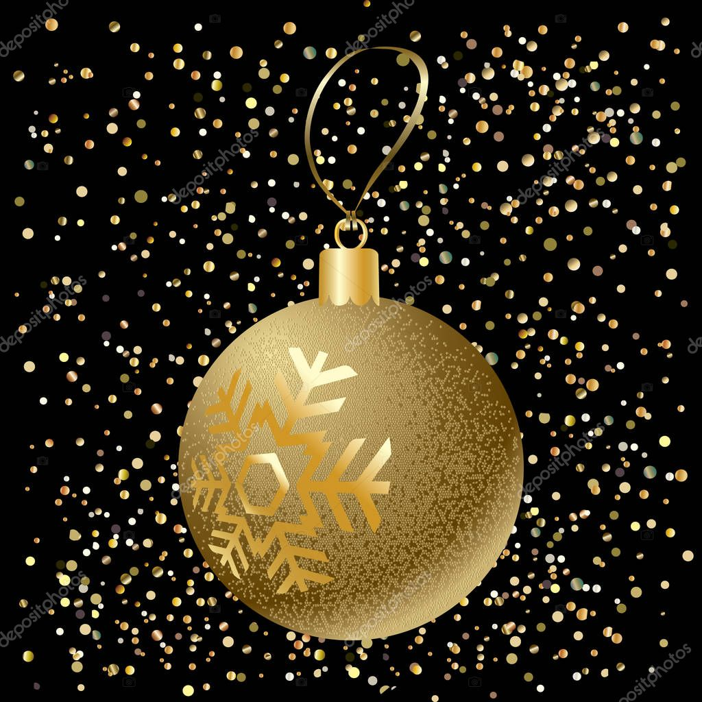 Ball Christmas ball. Glitter Christmas ball with snowflakes and festive bright sparkles confetti on black background. Vector Gold ball for Merry Christmas and New Year Holiday. 2017 New Year card Ball