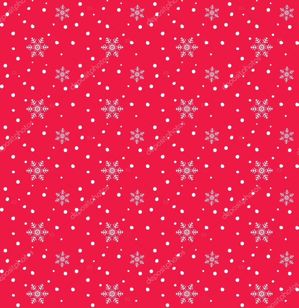 Merry Christmas and Happy New Year greeting card background with falling snowflakes, snow, snowfall. Christmas decoration. Winter holiday seamless pattern. Vector illustration. Cartoon snow.