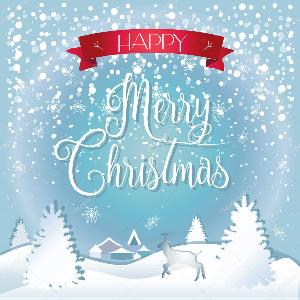 Merry Christmas and Happy New Year Greeting card with fir tree, reindeer, deer, city, falling snowflakes, realistic snowfall and decorative elements. 2017 Victorian Winter holiday. Vector wallpaper