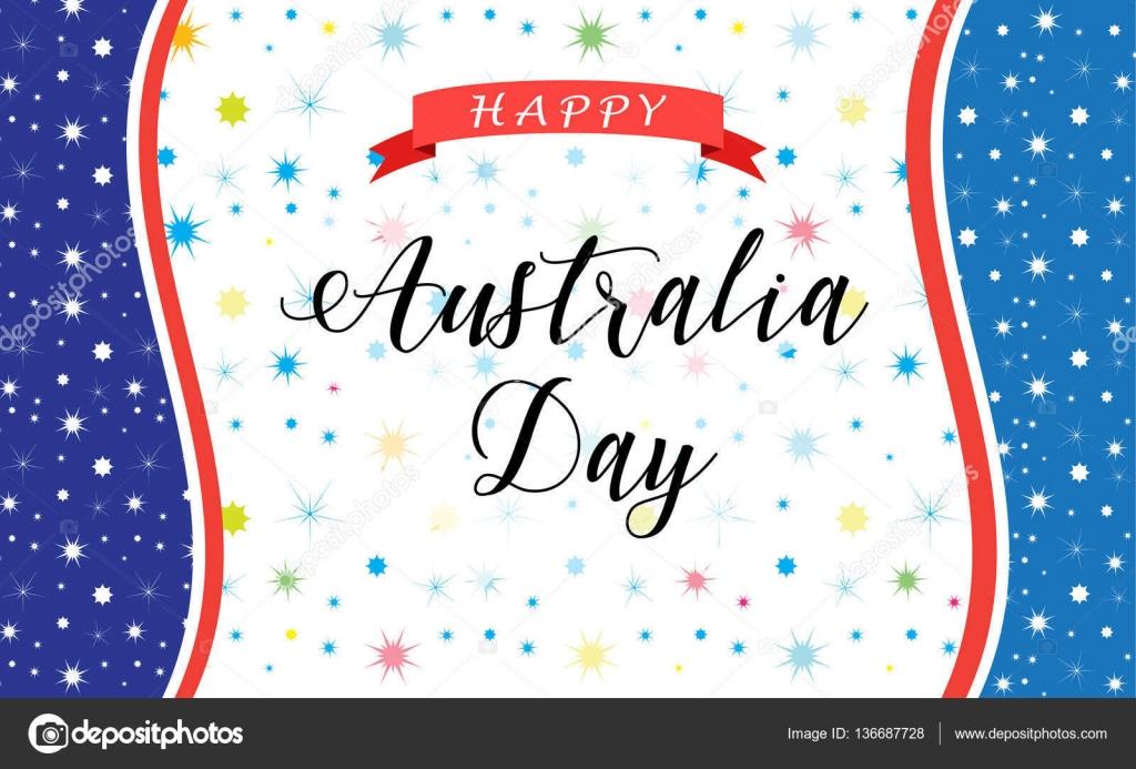 Australien Tag 26 Januar Inschrift Poster mit australischen Karte ...