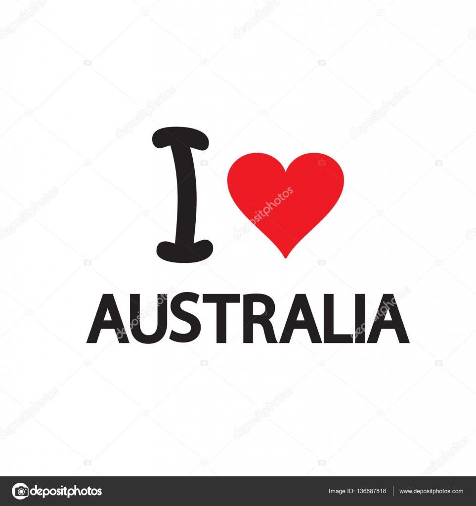 australia day 26 january inscription poster with heart shape