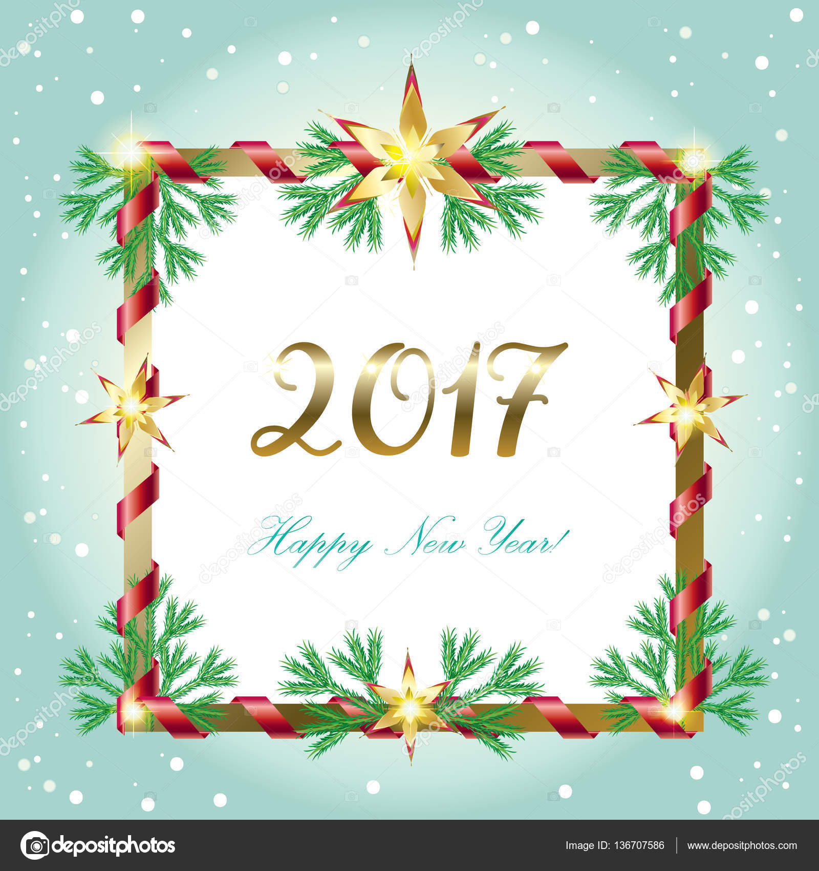 Vector Merry Christmas and Happy New Year 2017 greeting cards ...