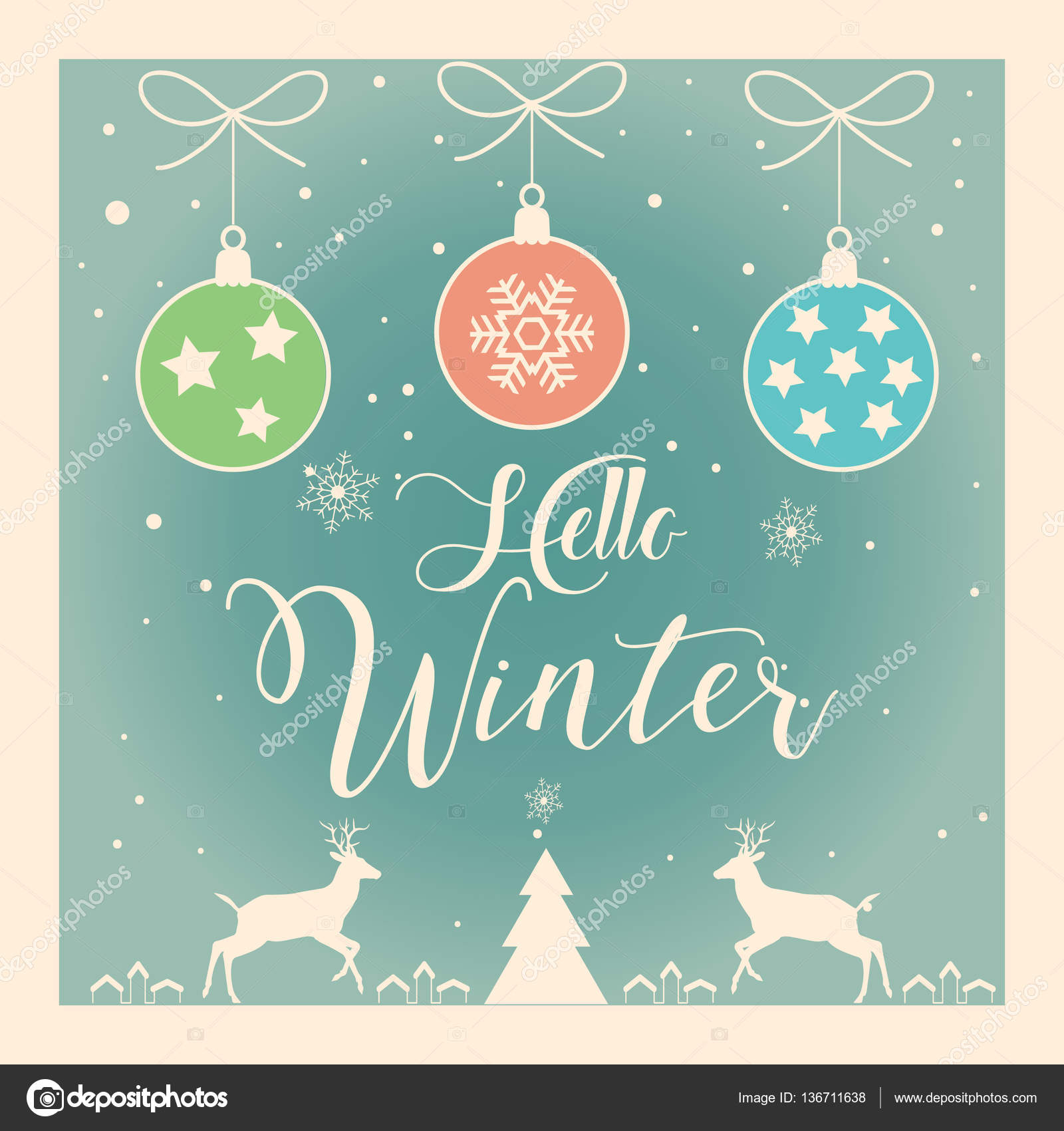 Hello Winter Lettering. Calligraphy Vector Merry Christmas And Happy New  Year Greeting Cards Background With