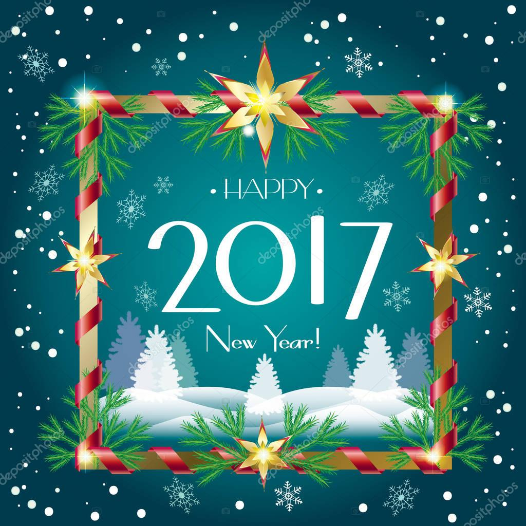 Vector Christmas and Happy New Year greeting cards background with snow, fir tree, sparkle, snowflakes. Christmas decoration. Winter Holiday poster.
