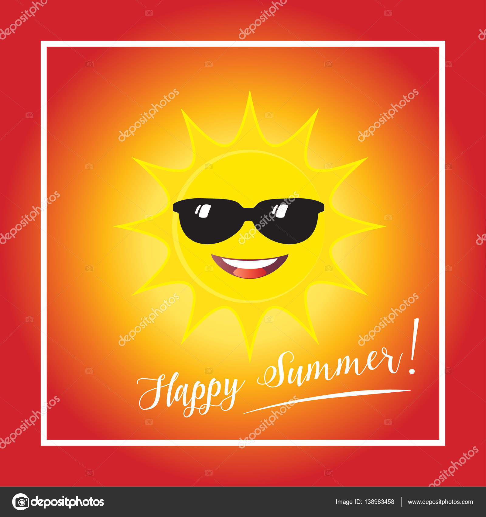 Sun Smile With Sunglasses Icon On Blue Sky Background. Vector Illustration. Hello  Summer Poster