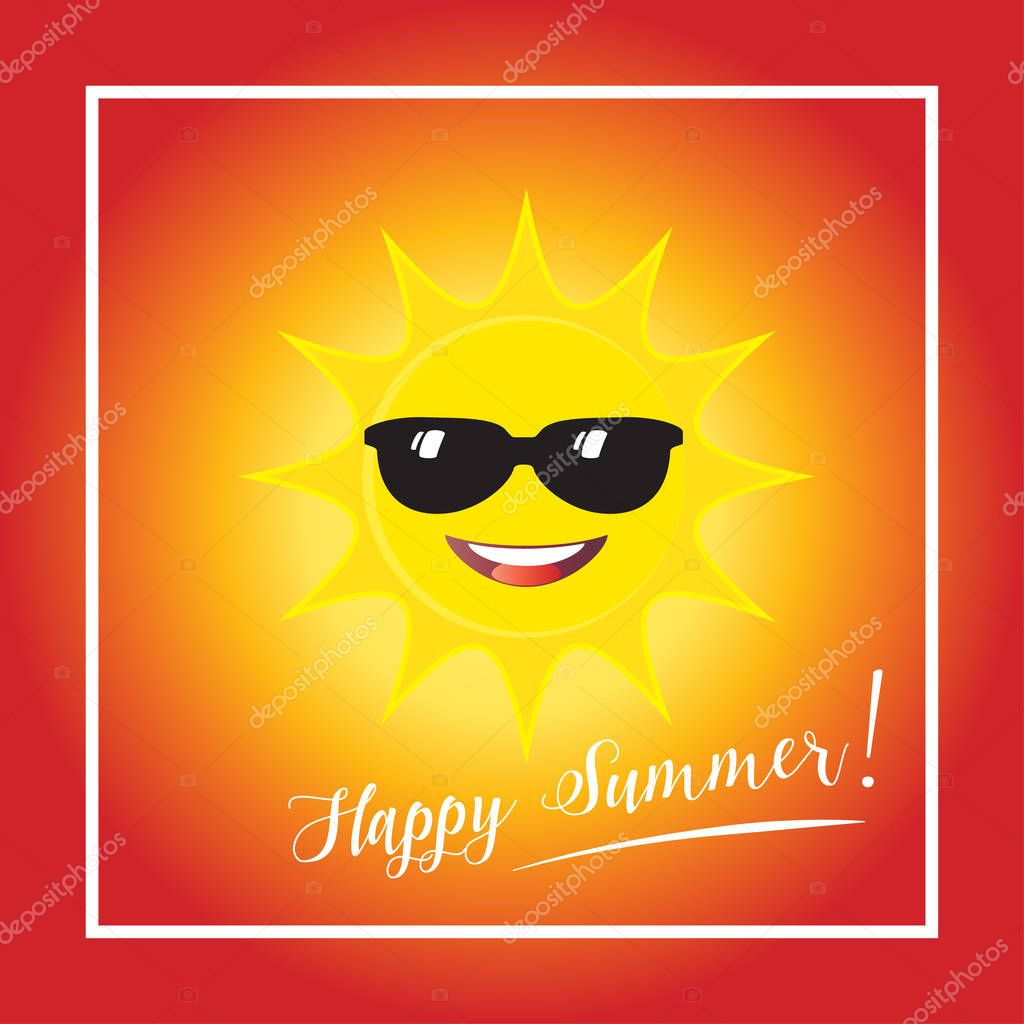 Sun smile with sunglasses icon on blue sky background. Vector illustration. Hello summer poster. Happy summer, Travel, kids event, Sunday party, camping, internet, web banners, print, t-shirt, tropical illustration. Weather symbol.