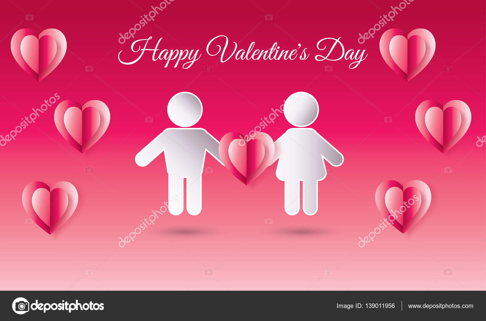 Happy Valentines Day Greeting Card Vector Illustration Romantic