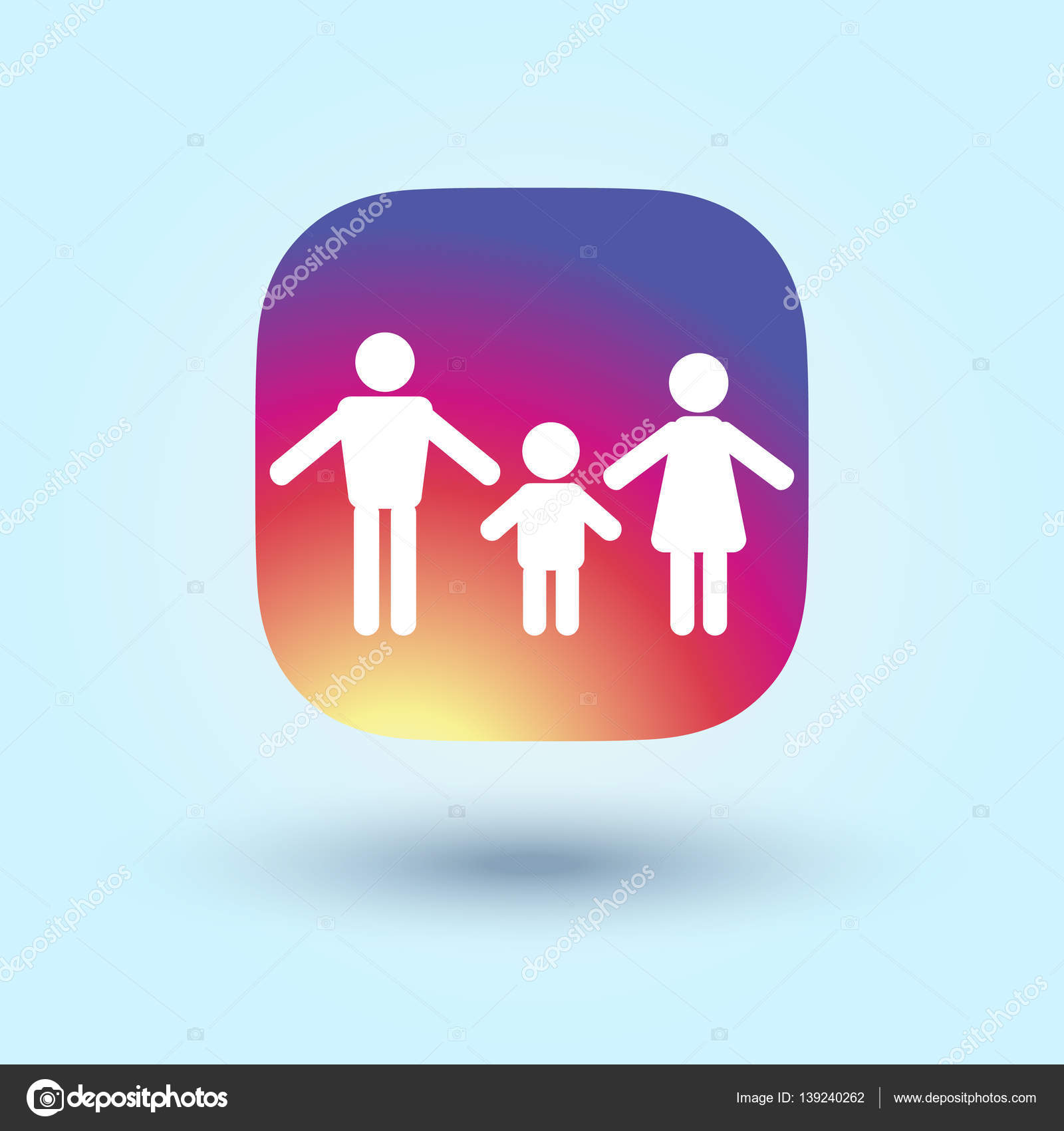 Family Icon In Trendy Flat Style Isolated On Colorful Background