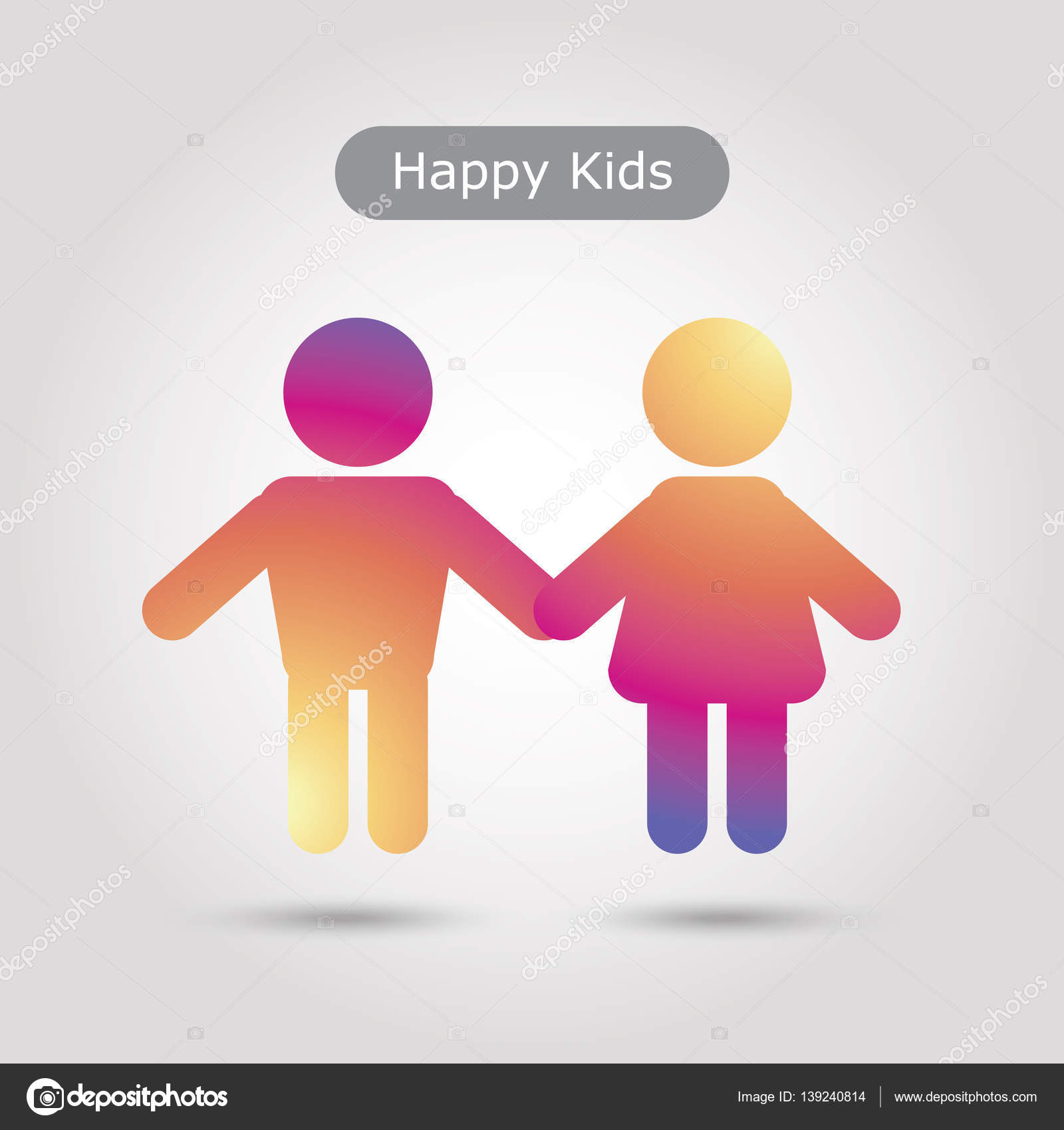Boy And Girl Icon Happy Kids Icon In Trendy Flat