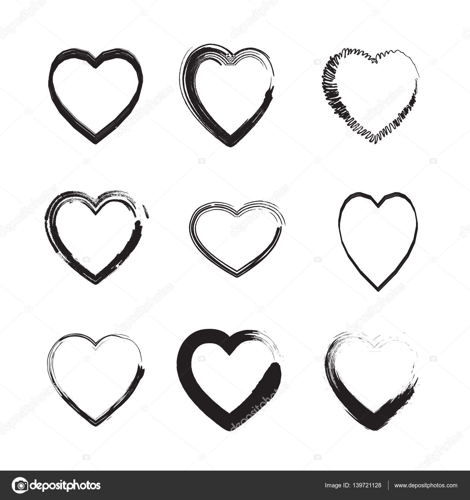 Heart hand drawn set different shapes of hearts isolated on white different shapes of hearts isolated on white love symbols icons labels brush drawing set romantic hearts collection fo holiday trendy design fashion buycottarizona Images