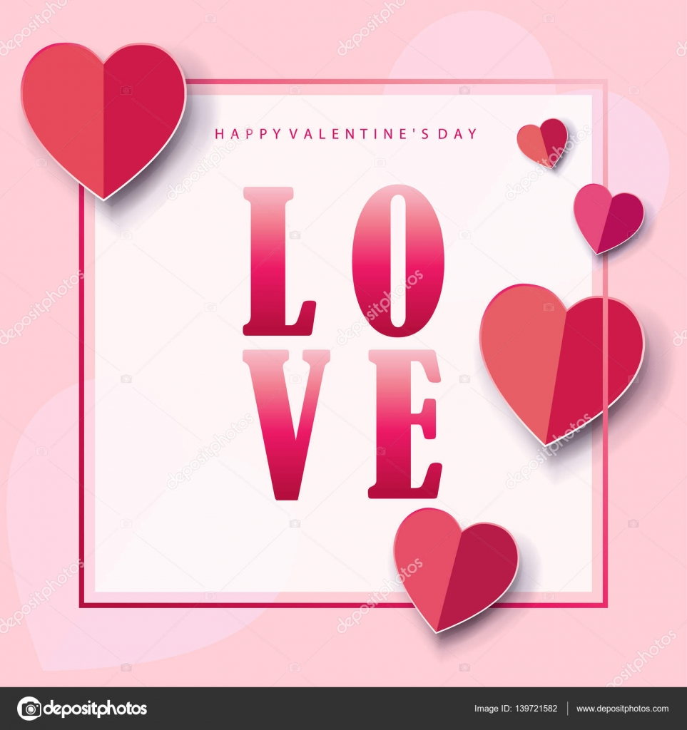 Happy Valentines Day Greeting Card Calligraphy Classic Vector