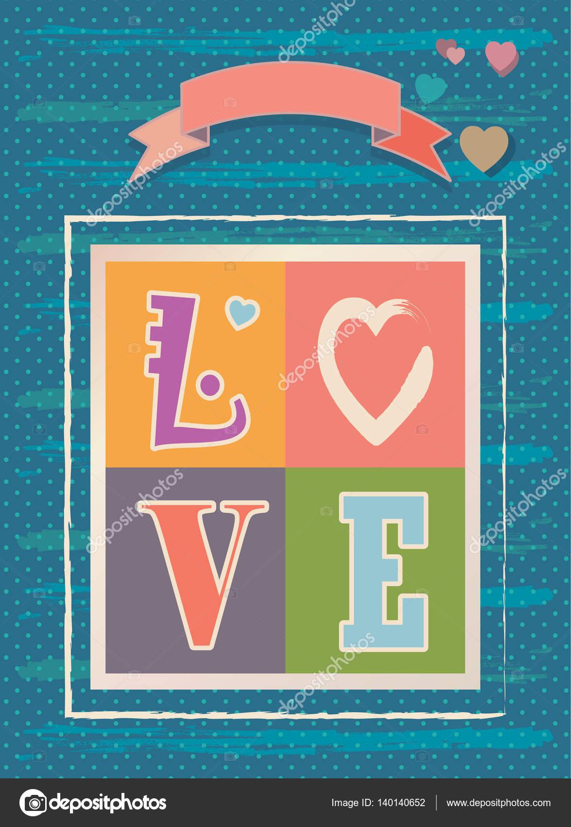 Vintage tarjeta de felicitación feliz día de San Valentín ...