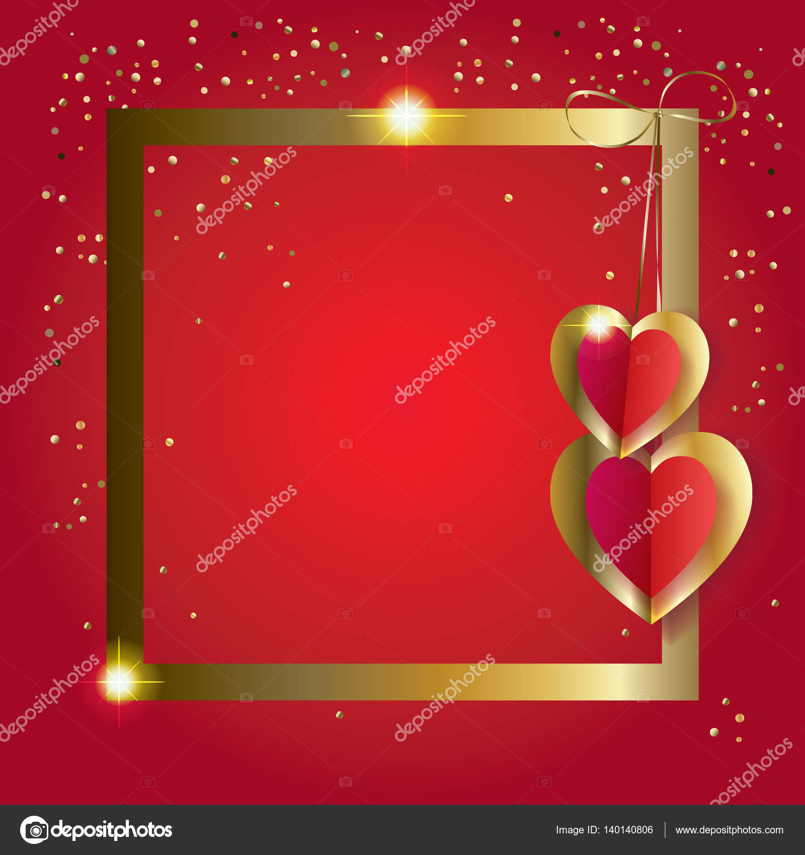 frame valentines day greeting card border layout vector illustration romantic poster with hearts