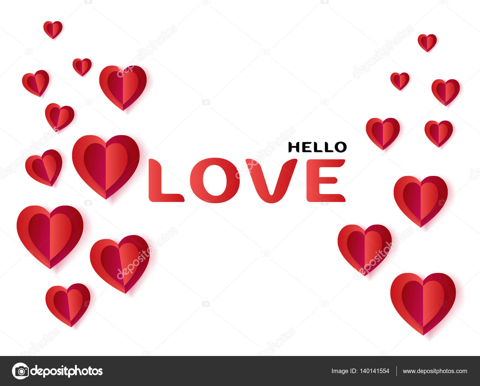 Valentines Day greeting card layout. Vector template illustration ...