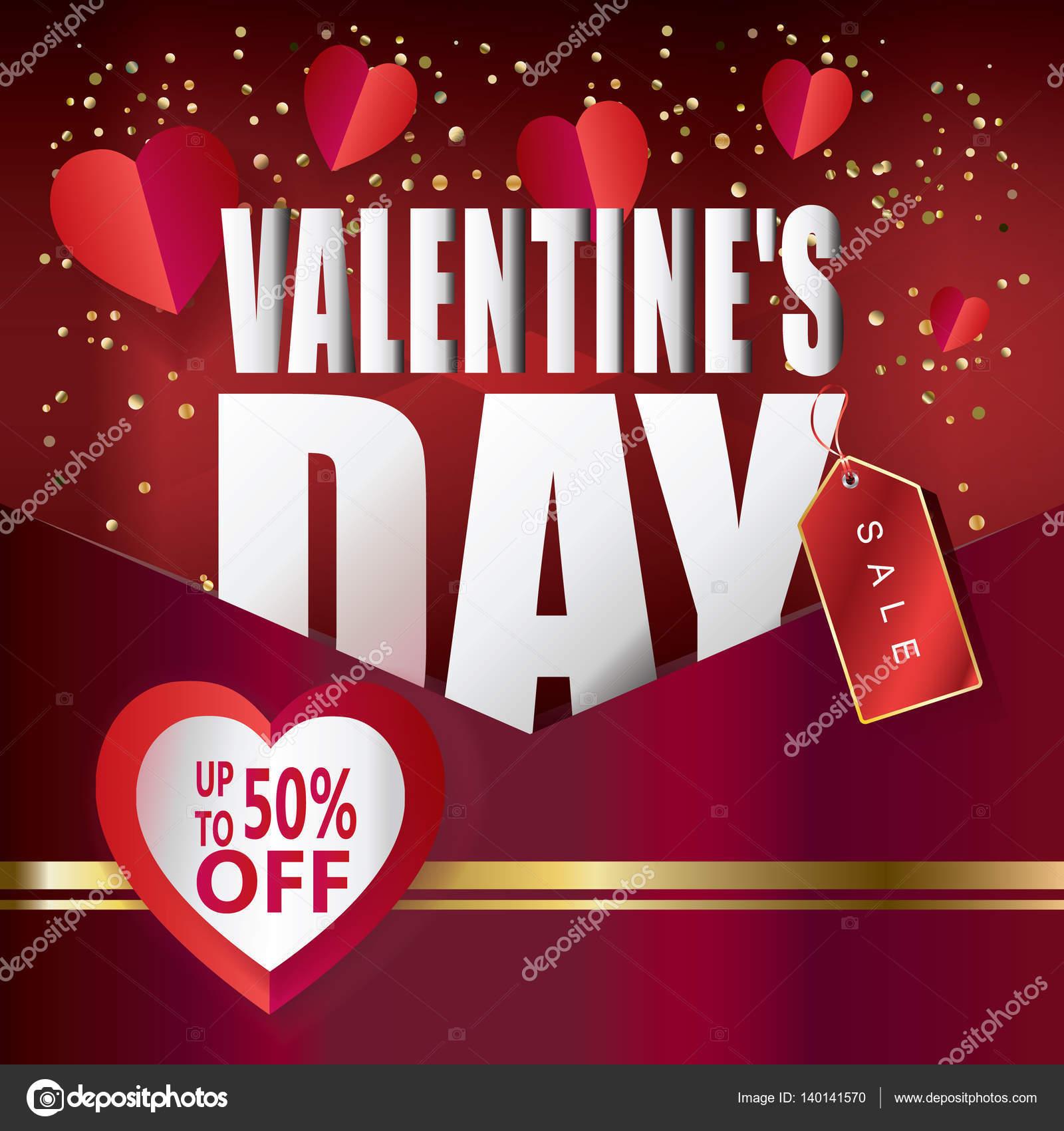 Cartel de descuento venta de día de San Valentín publicidad Vector ...