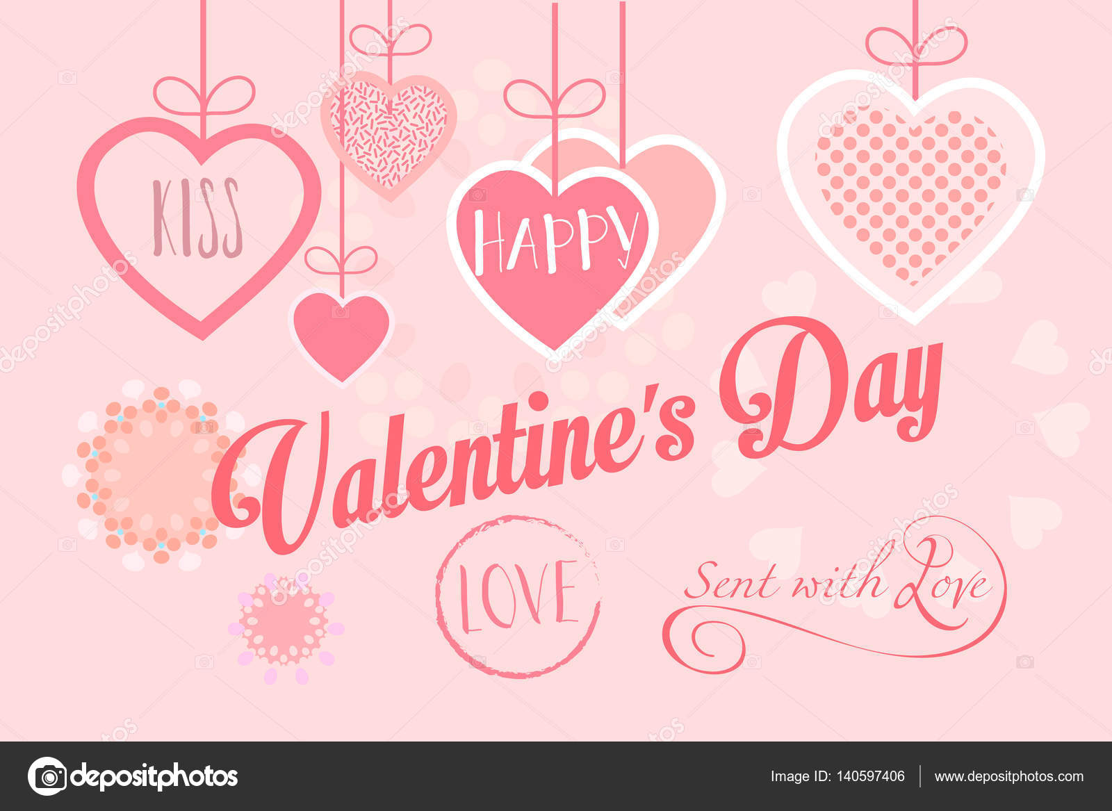 Valentines Day Or Wedding Greeting Card Hearts Festive Pink Hand Made Background Vector Template