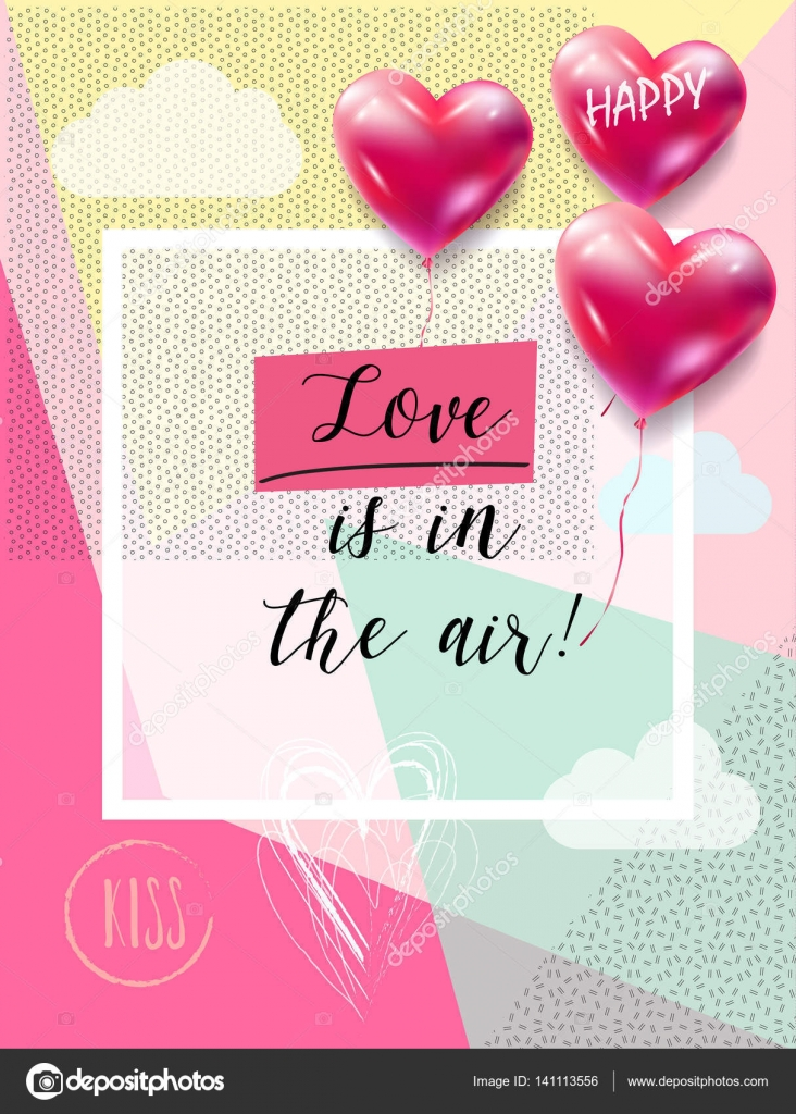 Happy Valentines Day greeting card vector template. Love is in the ...