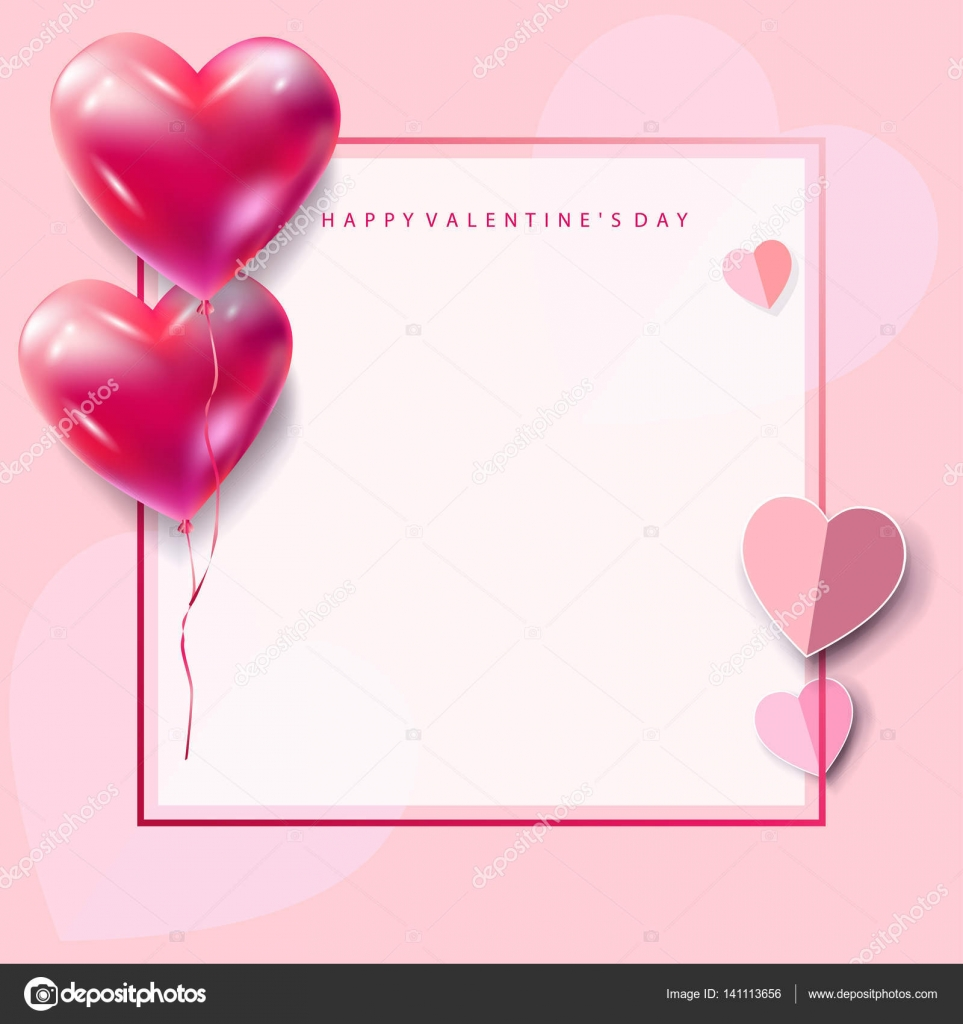 Happy valentines day greeting card vector template romantic poster happy valentines day greeting card vector template romantic poster with hearts balloons festive background m4hsunfo