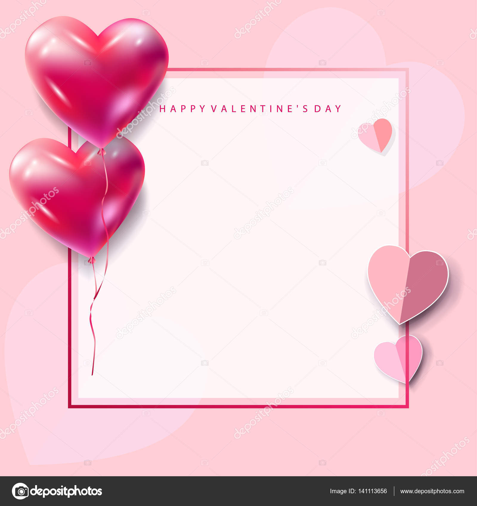 happy valentines day greeting card vector template romantic poster with hearts balloons festive background