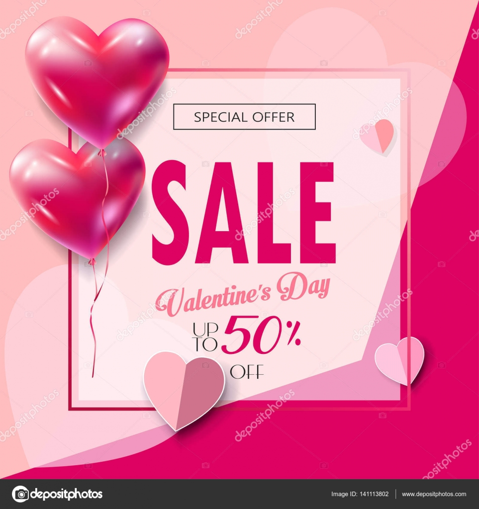 Sale Discount Banner For Valentines Day Vector Template Special