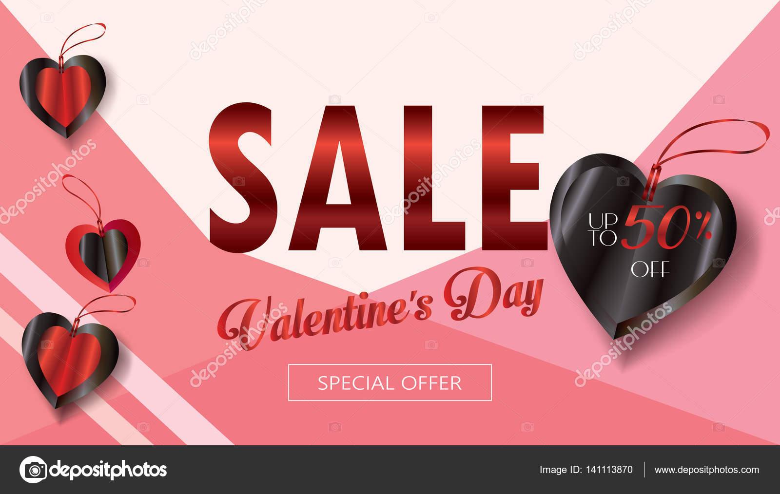 Verkauf-Rabatt-Banner für den Valentinstag. Vektor-Vorlage ...