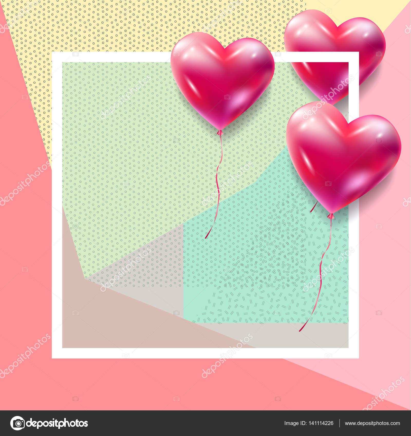 Happy Valentinstag Grußkarte Vektor Vorlage. Romantische Poster mit ...