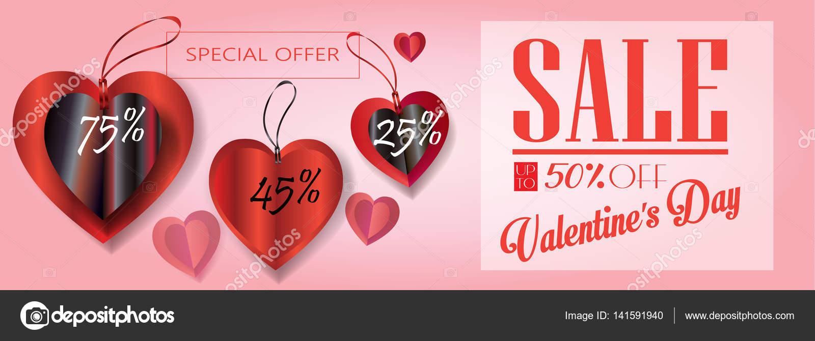 Verkauf-Rabatt-Banner für den Valentinstag. Am Wochenende Verkauf ...