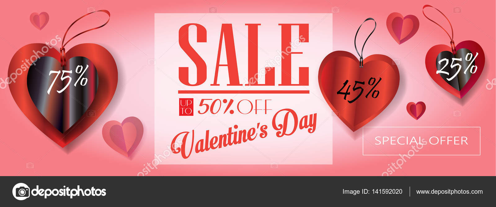 Sale discount banner for Valentines Day. Weekend Sale Vector ...