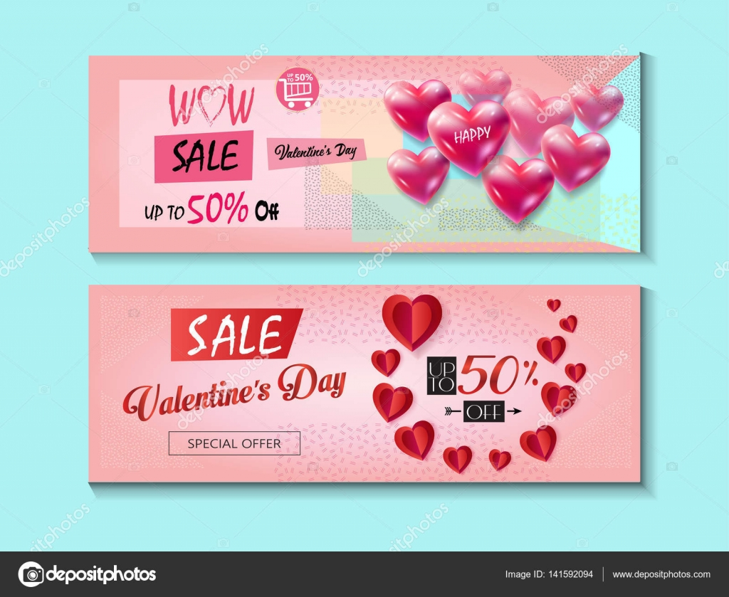 Sale Discount Banner For Valentines Day Set Vector Template