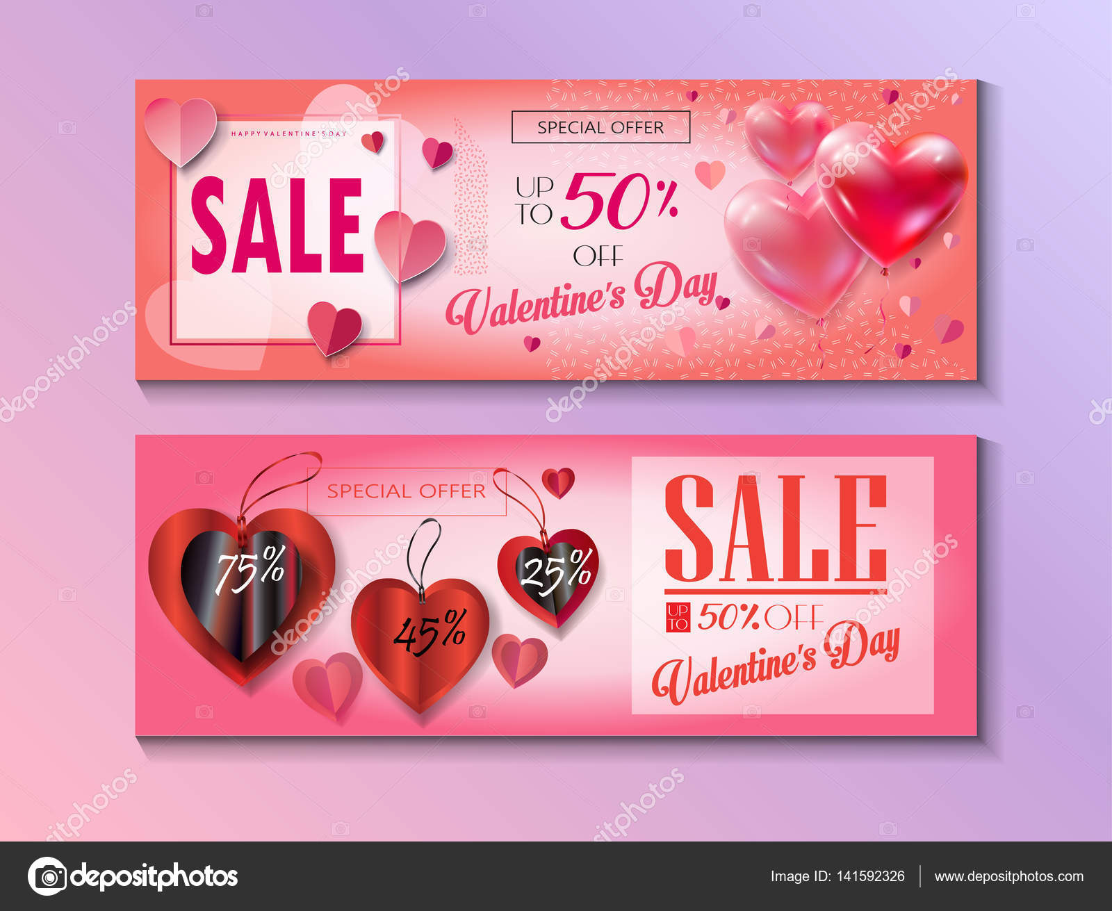 Sale Discount Banner For Valentines Day Weekend Sale Vector