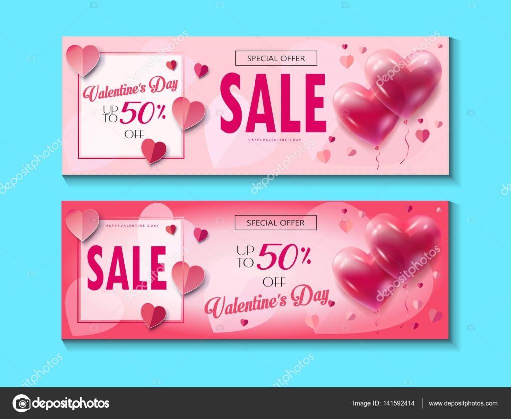 Sale-Rabatt-Banner für den Valentinstag eingestellt. Vektor-Vorlage ...