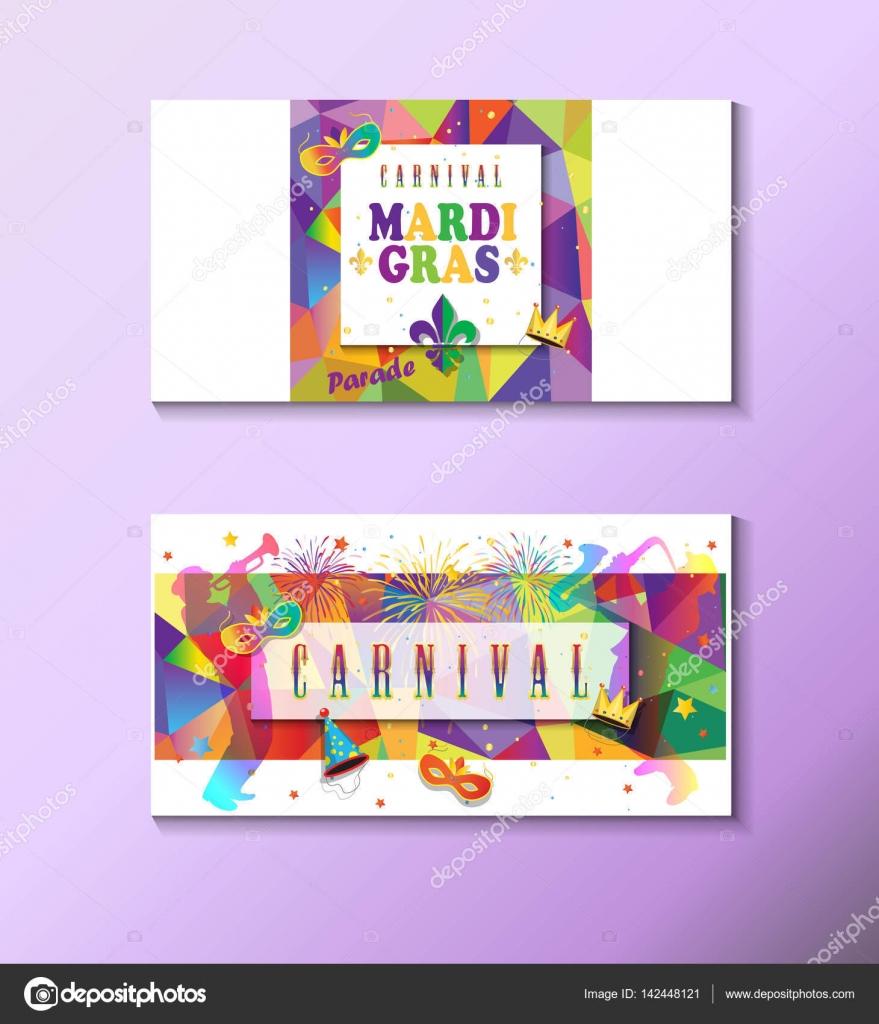 mardi gras carnival music festival masquerade poster invitation