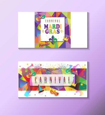 Mardi Gras Carnival, Music Festival, Masquerade poster, invitation design set. Vector Funfair, parade funny tickets, banners design with confetti, musicians, carnival mask, crown, fleur de lis masquerade symbols emblem