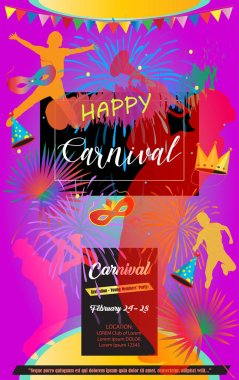 Mardi Gras Carnival, Music Festival, Masquerade poster, invitation design. Vector Funfair, parade funny tickets, banners design with confetti, musicians, carnival mask, crown, fireworks masquerade symbols, Venrtian, Brazilian, Indian, Columbia emblem