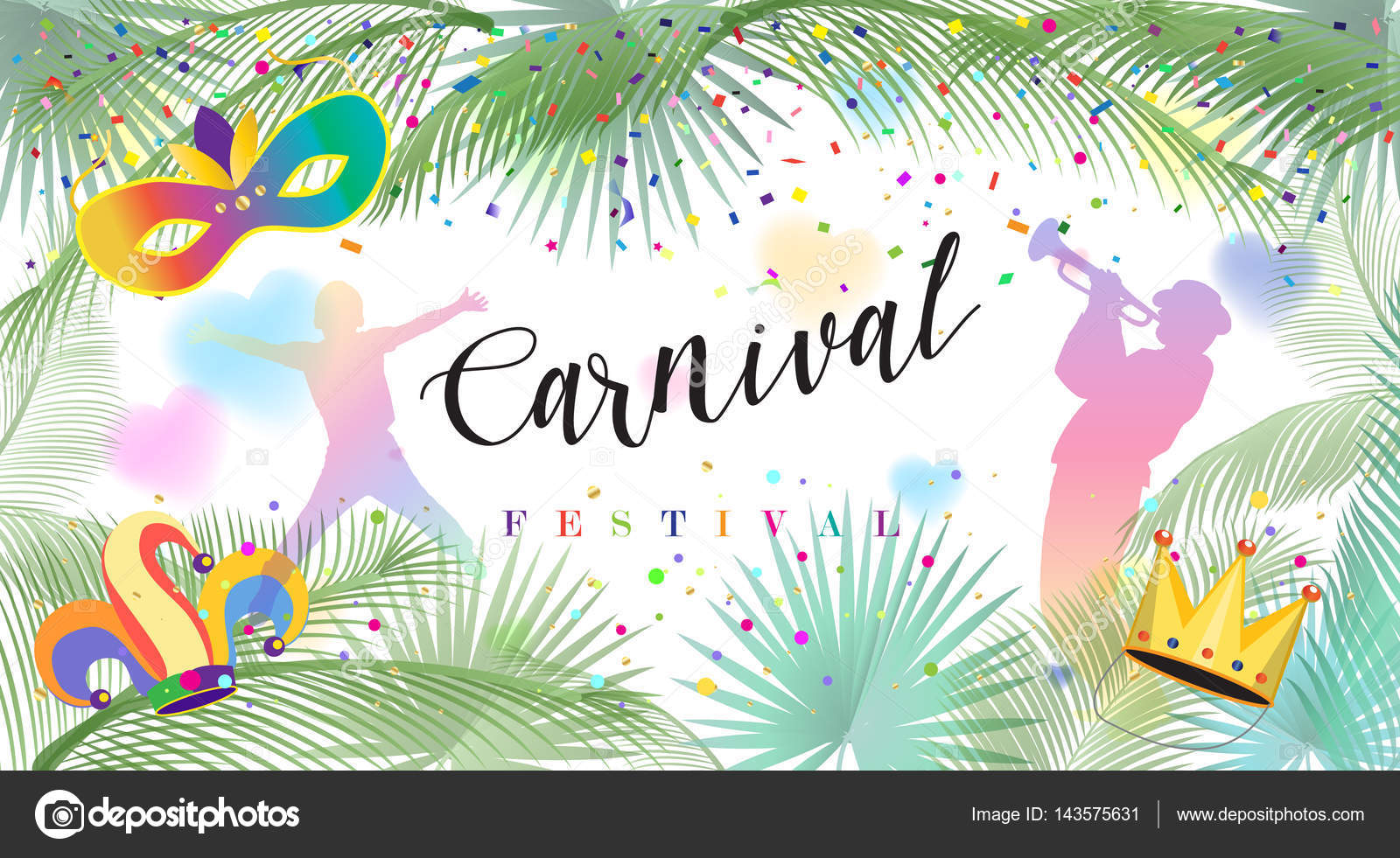 Holiday Festive Design With Confetti Musicians Venetian Carnival Mask Crown Street Festival Advertising Decoration Palm Tree Leaves Frame