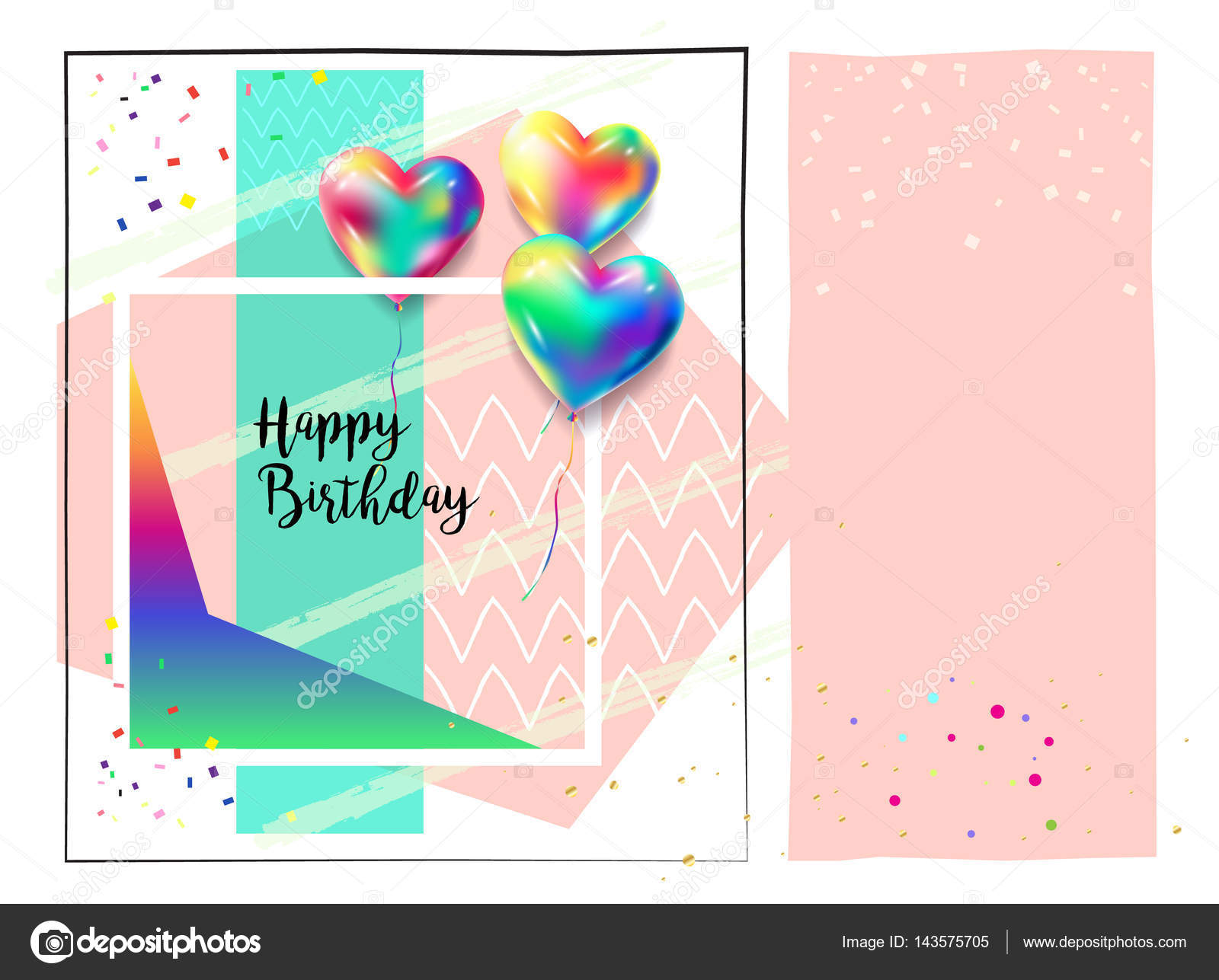 Happy Birthday Greeting Card With Carnival Music Festival Masquerade Design Elements Heart Balloons