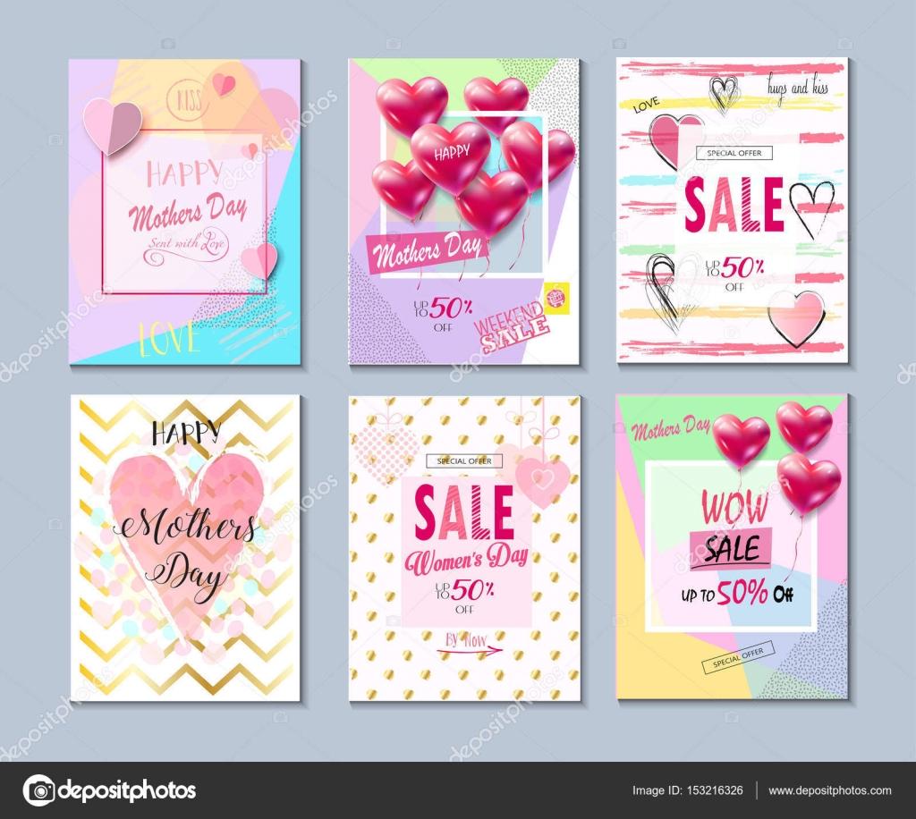 Kollektion Happy Muttertag. Satz von Valentinstag, Muttertag Karte ...