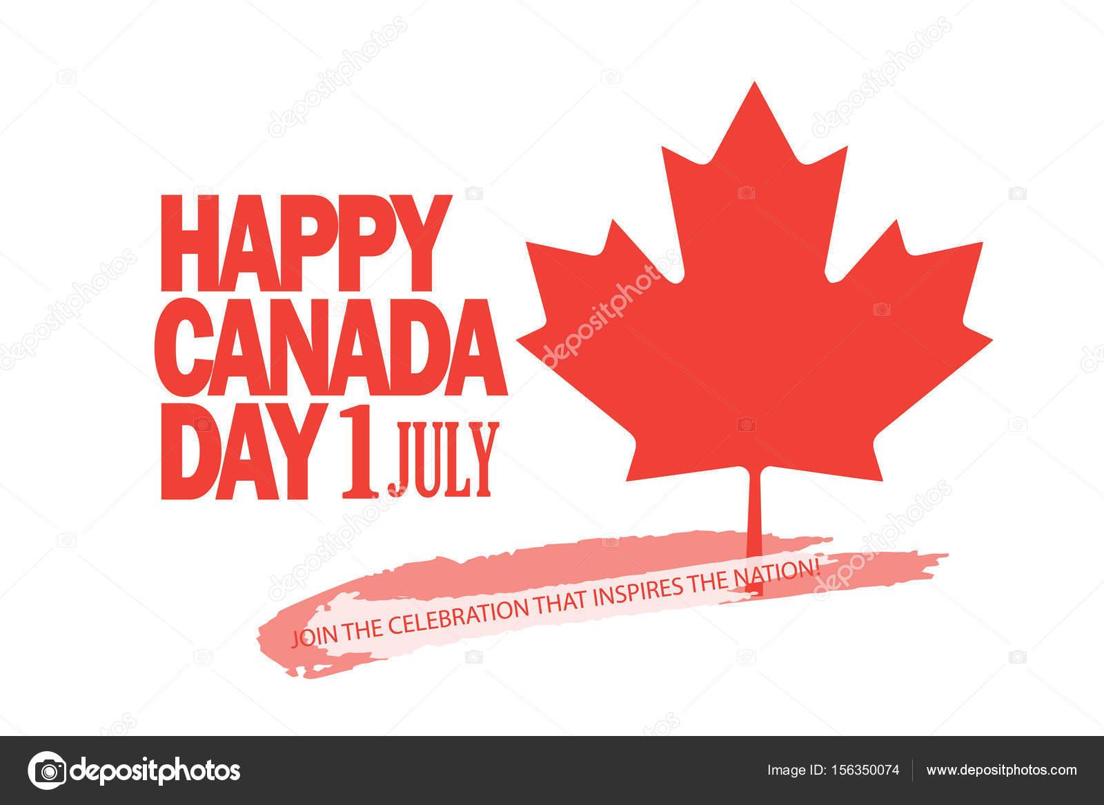 Canadá feliz día! Tarjeta de felicitación, cartel, cartel, con el ...