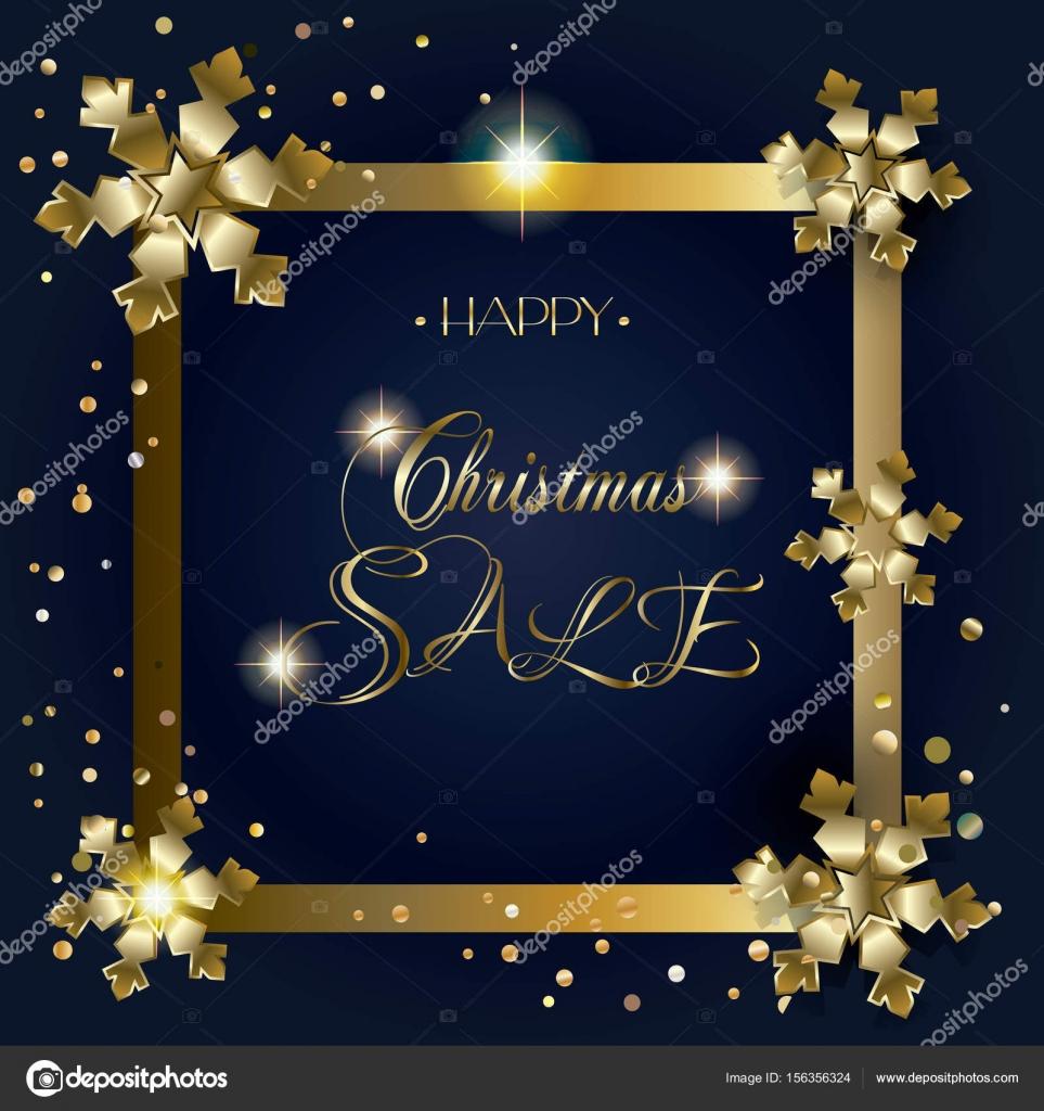 Carta de venta grande. Feliz feliz Navidad y año nuevo dorado marco ...