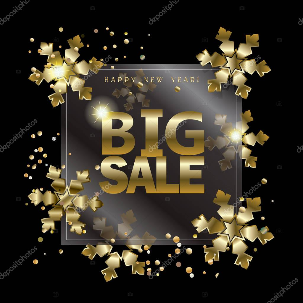 Big Sale card. Happy Merry Christmas and New Year golden frame with gold confetti and snowflakes on black background. Luxury design template. Vector illustration. VIP Voucher Banner Poster Gift card. Marketing, Advertising, Selling. Sale layout flyer
