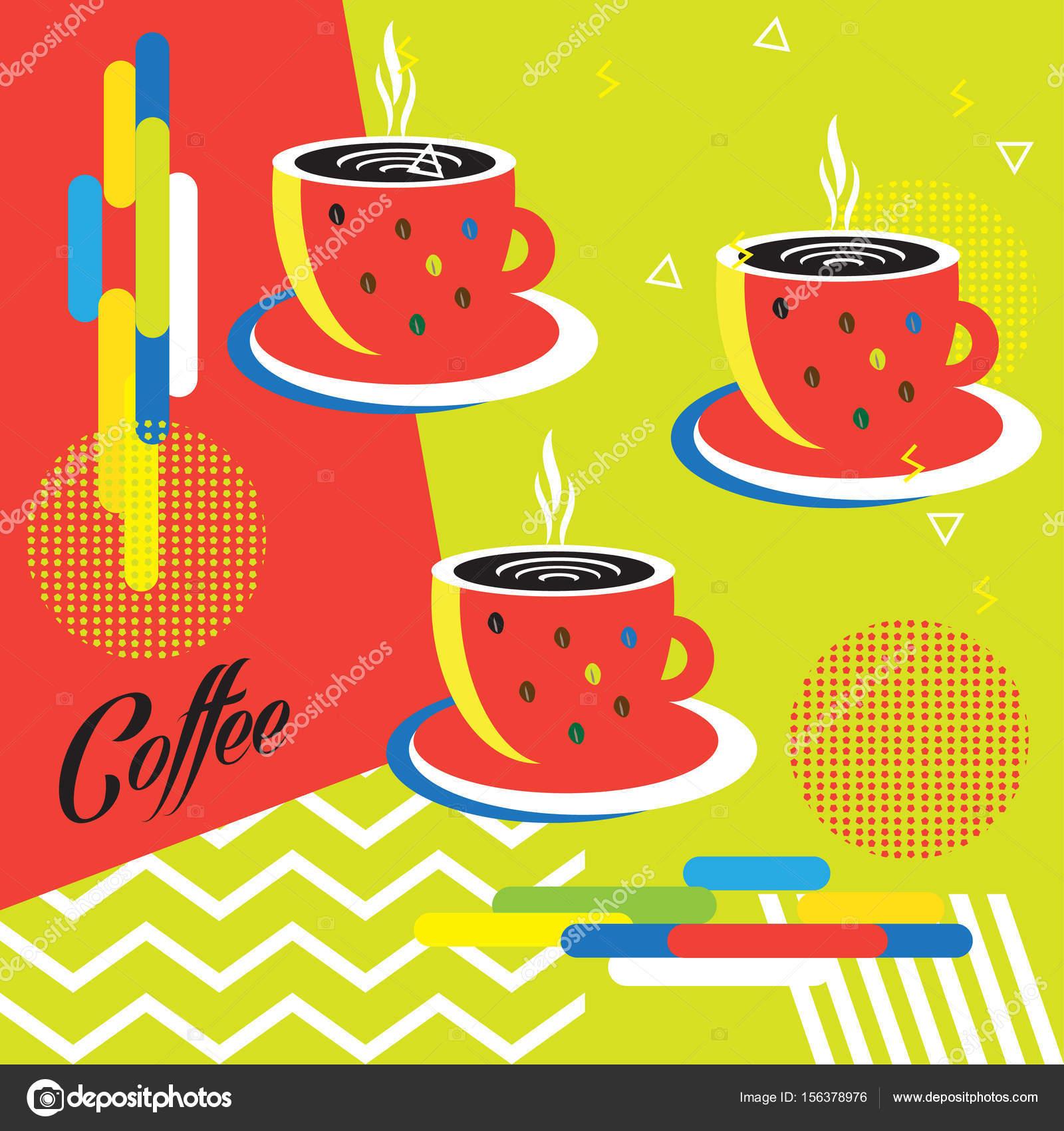 Art Modern Background Logo Menu Concept Illustration Template Advertising Design Futuristic Banner Wallpaper Poster Coffee Beans Tea Cafe Drinking