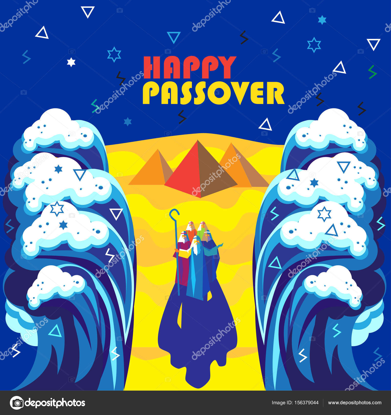 happy passover jewish holiday background, vector illustration with