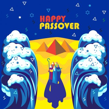 Happy Passover Jewish Holiday background, Vector illustration with Moses, sea waves, sky, Egyptian pyramids. Israel. Futuristic style