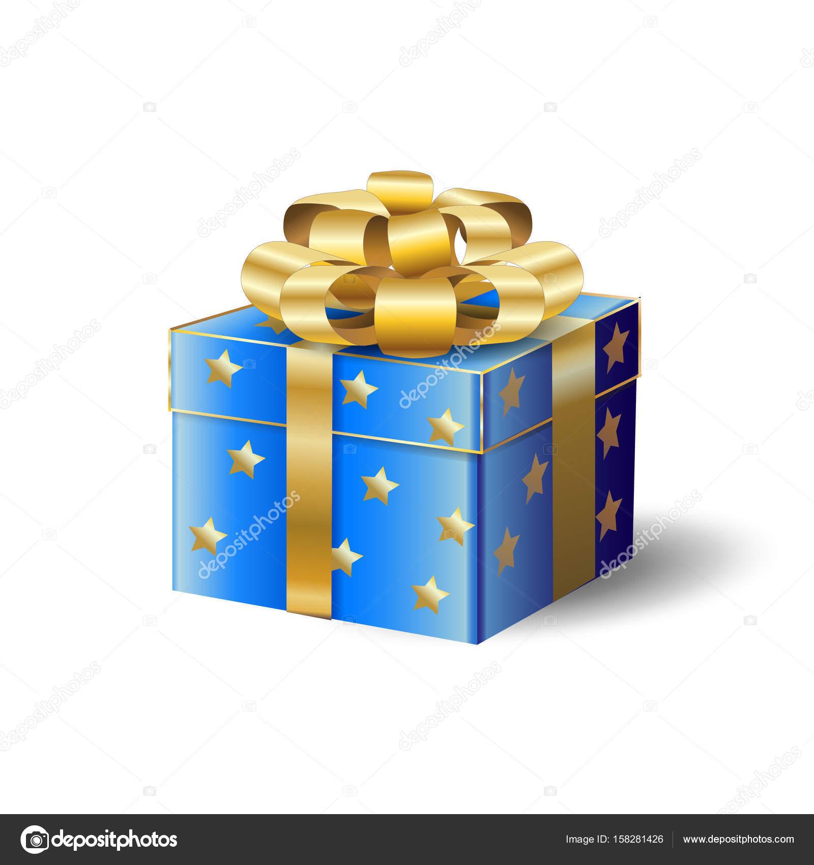 3D realistisch Geschenkbox mit gold realistische Bogen Band isoliert ...