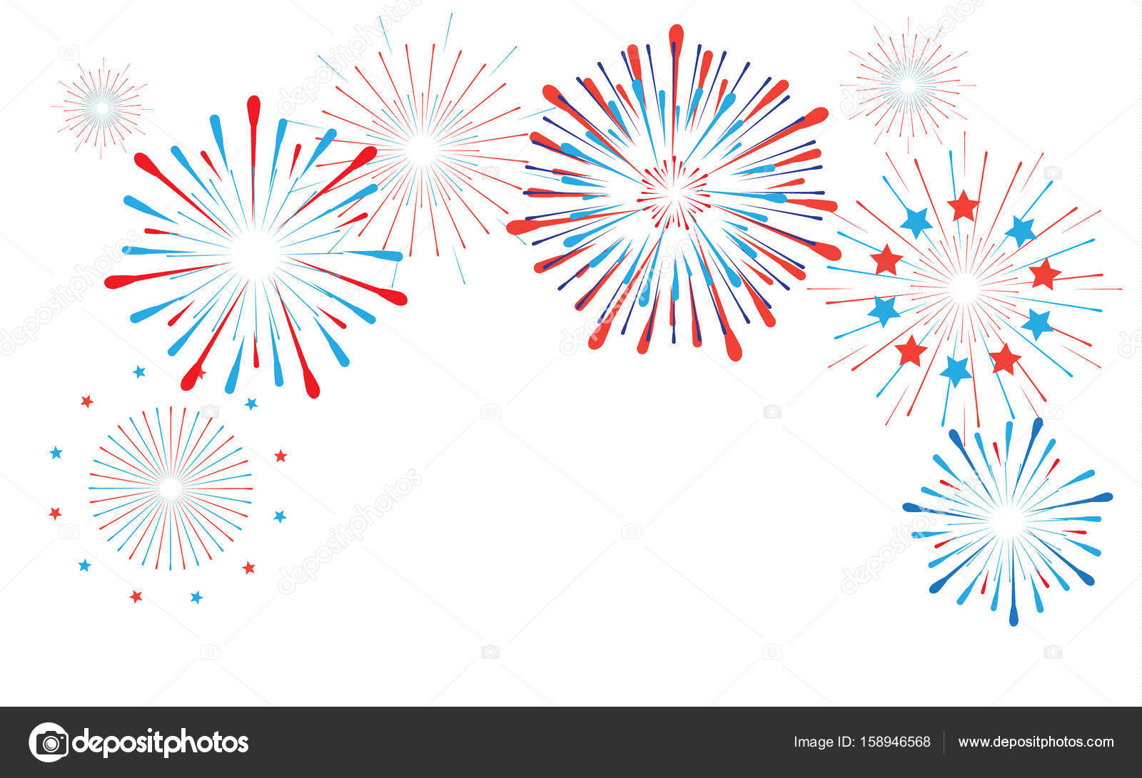 fireworks confetti fire sparklers star burst red and blue color festive background for happy new year celebration 4th of july american national